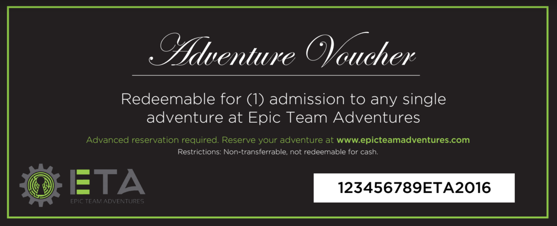 Gift Certificate Epic Team Adventures
